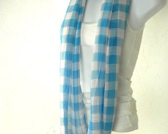 Turquoise and White Big Gingham Check Chiffon Infinity Scarf for Women by Thimbledoodle
