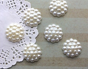 10 Flower Centers -  pearl color - cream light Ivory  cluster Pearl flat back cabochons 22mm