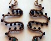 Cecelia  Wire-wrapped Snake Earrings