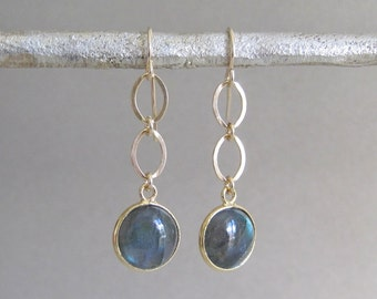 Gold Labradorite Dangle Earrings - Gold Earrings - Gold Labradorite Earrings