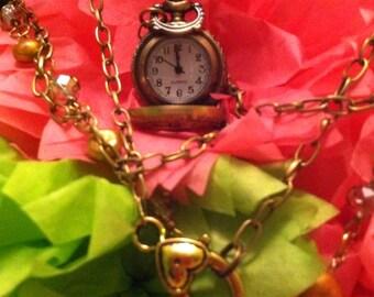 Sweetheart Antiqued Brass Locket Watch