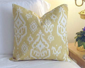 Choose Your Cushion Cover, Decorative Pillow Cover Cushions - Raji Saffron Yellow - 18 x 18 Accent Cushion