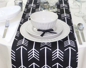 Choose your Table Runner, Black Table Runner - Black Wedding Linens - Black Table Topper - Arrow Black Table Runner