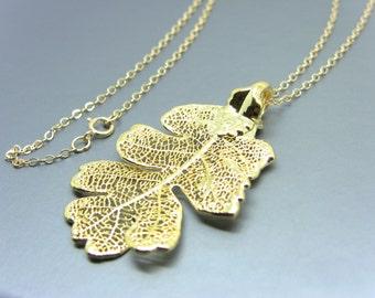 24Kt Gold Plated Lacey Oak Leaf Necklace