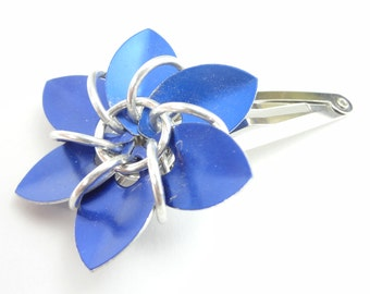 Blue Flower Barrette Made From Anodized Aluminum Scalemaille