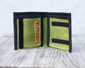 Waxed canvas wallet, green and black