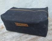 Toiletry Bag/Dopp Kit -- black waxed canvas