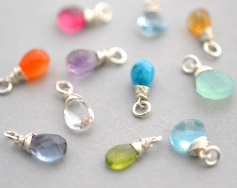 Gemstone Add Ons, Birthstones, Wire Wrapped, Silver Pendent, Charms, Bridesmaid Gift