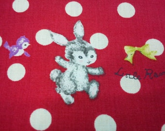 Little rabbits, ivory and red dots, fat quarter, pure cotton fabric