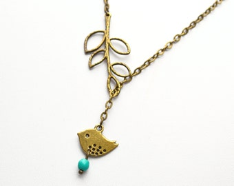 Mother's day gift Bronze Bird Necklace, Sparrow Necklace, Bird Lariat Silver Branch Jewelry, Bird Jewelry pendant beadwork strand statement