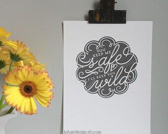 You Keep Me Safe - 8x10 Chalkboard Print
