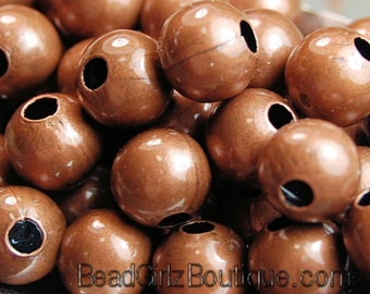 Antique Copper finish Metal Beads, 6mm round -50