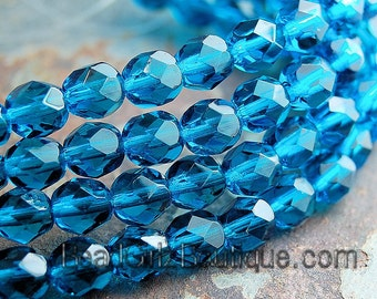 Teal Blue Czech Faceted Glass Bead 6mm Round - 25 Pc