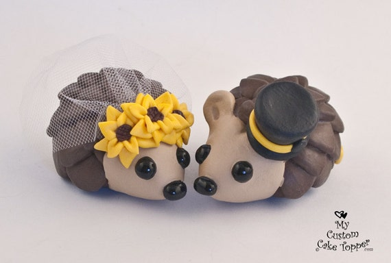 Hedgehogs Bride and Groom Wedding Cake Topper with Sunflowers