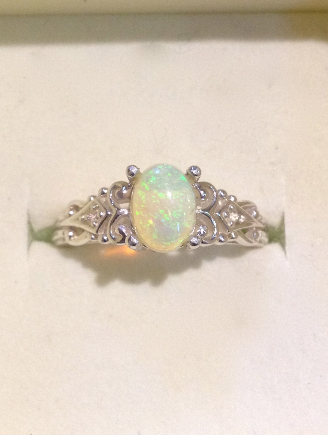 Australian Opal Ring Vintage Style Opal Ring with Diamonds