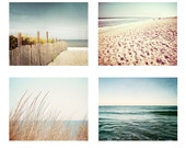 Photography Beach Set - blue beige brown ocean sea landscape dark coastal cottage prints wall gallery four photos seaside wall art decor