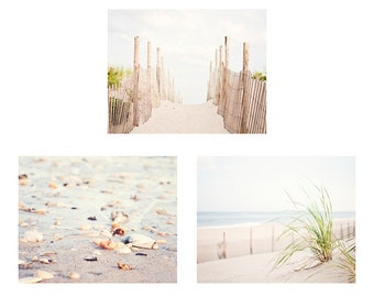 Neutral Beach Photo Set - Three 11x14, 8x10 Photographs - white light cream wall prints beige seashore pale seashore dune coastal photo set