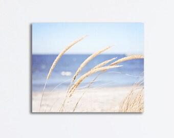 Beach Grass Canvas, beach photography blue cream beige grasses ocean sea white cream nature seashore canvas wrap coastal wall art photograph