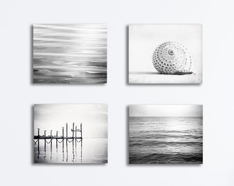 Grey Beach Canvas Set, black and white gray light nautical photography ocean sea gallery wrapped canvases pale modern seaside wall print set
