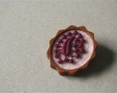 Burgundy Vintage Lace on Pink Felt Wooden Brooch, Lace and Mahogany Series