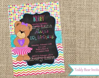 Build A Bear Birthday Invites- Fifth Girl Birthday-Chalkboard Invite-Teddy Bear Party-Casbury Lane