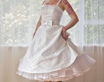 1950's Rockabilly 'Tiffany' Polka Dot Wedding Dress with Lapels, Bow Belt and Petticoat - Custom Made to Fit