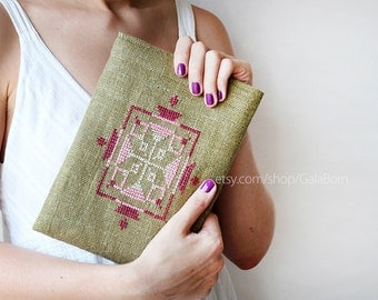 iPad Air case or sleeve - iPad Air case - Linen - Hand embroidery - christmas gift