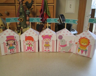 Girly Circus Tent Favor Boxes Set of 10