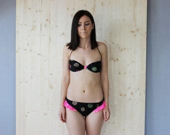 90's Frilly Bikini Set Neon Swimwear two piece bathing suit
