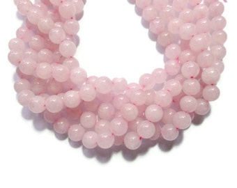 Rose Pink Jade - 10mm Round - Full Strand - 39 beads