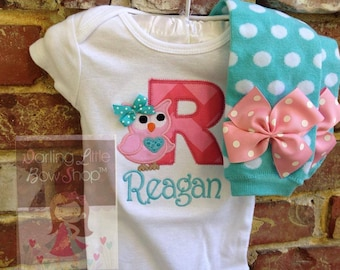 Owl outfit for baby girls  -- Pretty Little Owl -- Aqua and pinks with name and polka dot leg warmers
