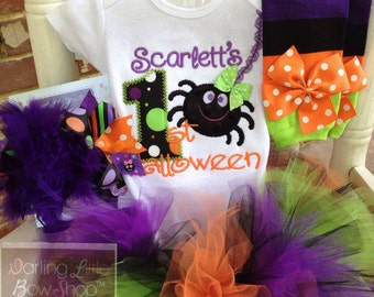 FREE SHIPPING My 1st Halloween outfit for baby girls - bodysuit, tutu, leg warmers & Over The Top bow in purple, black, green and orange