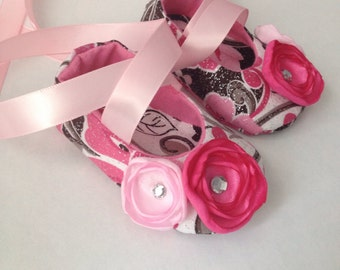 Pink Brown White w/Flowers Baby Ballerina Shoes