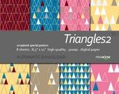 "Digital Paper +Triangles 2 + Scrapbook Quality Paper Pack  (8.5x11""- 300 dpi)   8 sheet pack paper  TR2 + Instant Download +"