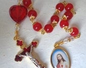 SALE - Sacred Heart Rosary - Gemstone Catholic Rosary - Sacred Heart of Jesus