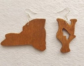 Handcut New York Wood Earrings