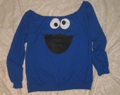 Womens Custom Altered Scoop Slouchy Tunic Sesame Street Cookie Monster Fleece Sweater Pullover Sweatshirt - Sizes S M L XL