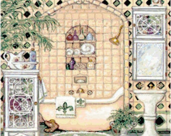Bathroom 8 Cross Stitch Pattern