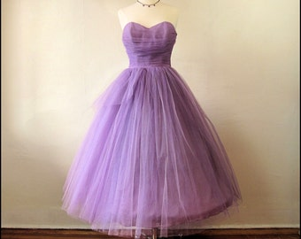 SALE-Coupon Code Enchanting 1950's Purple Tulle Party/Prom Gown