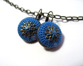 Handmade blue cotton crochet round earrings jewelry leverhook romantic bohemian elegant spring summer antique brass classic modern
