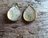 SALE - Copper Nautical Chart Map Earrings - Cozy Cabin