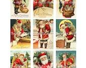 Vintage Christmas Card Images--Santa Claus St Nick Saint Nicholas Father Christnmas  Clipart Clip Art 8.5 by 11--Digital Collage Sheet  1360