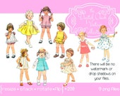 Digital Clipart, instant download, Vintage Little Girl Clipart, Toddler, Child, Children, Kid, Little Girl, Birthday girl,  PNG files 209