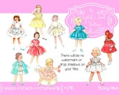 Vintage Little Girl,Clip Art Clipart, Toddler, Child, Children, Kid, Little Girl, Birthday, Easter, Dress Up, Party Dress   PNG files 216