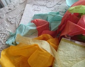 Sweet batch antique French Silk Ribbon Scraps for projects faded and delicious