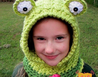 Frog Hooded Cowl for Toddler, Child, Adult