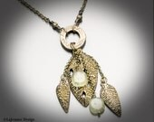 Sprouting - Bronze Leaves & Prehnite Beaded Necklace