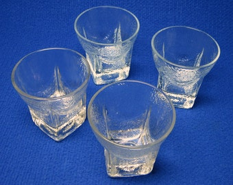 set of four LIBBEY glasses , ST REGIS ( saint regis ) square at the base and round at the top , ice look , mid-century modern