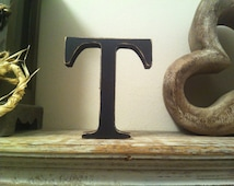 Hand-painted Wooden Letter T - Freestanding - Georgian Font - Various sizes, finishes and colours