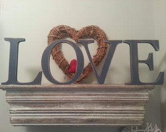 Painted wooden letters. LOVE - Photo Props - 20cm, standing, various colours and finishes